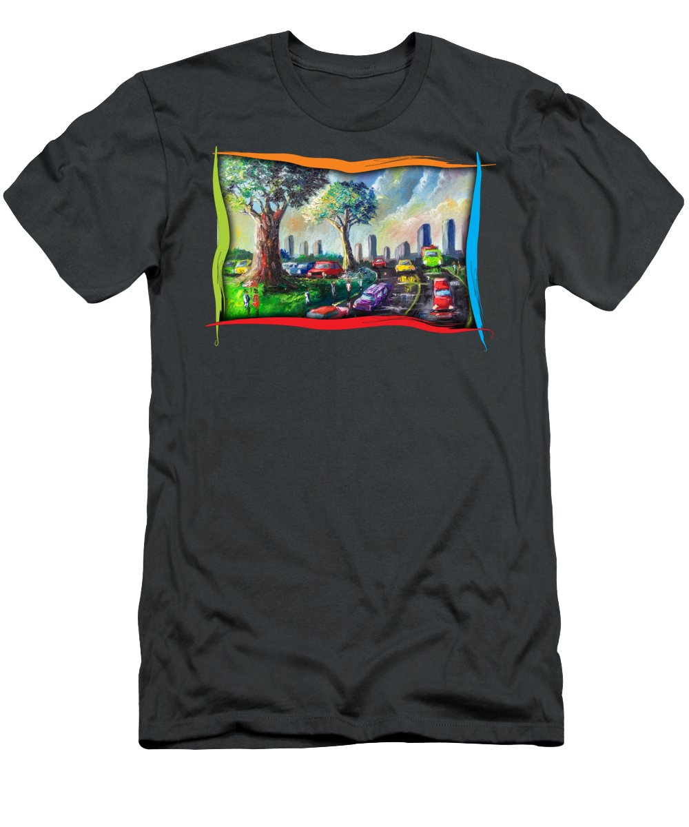 Nature Men's T-Shirt (Athletic Fit) featuring the painting City Life by Anthony Mwangi