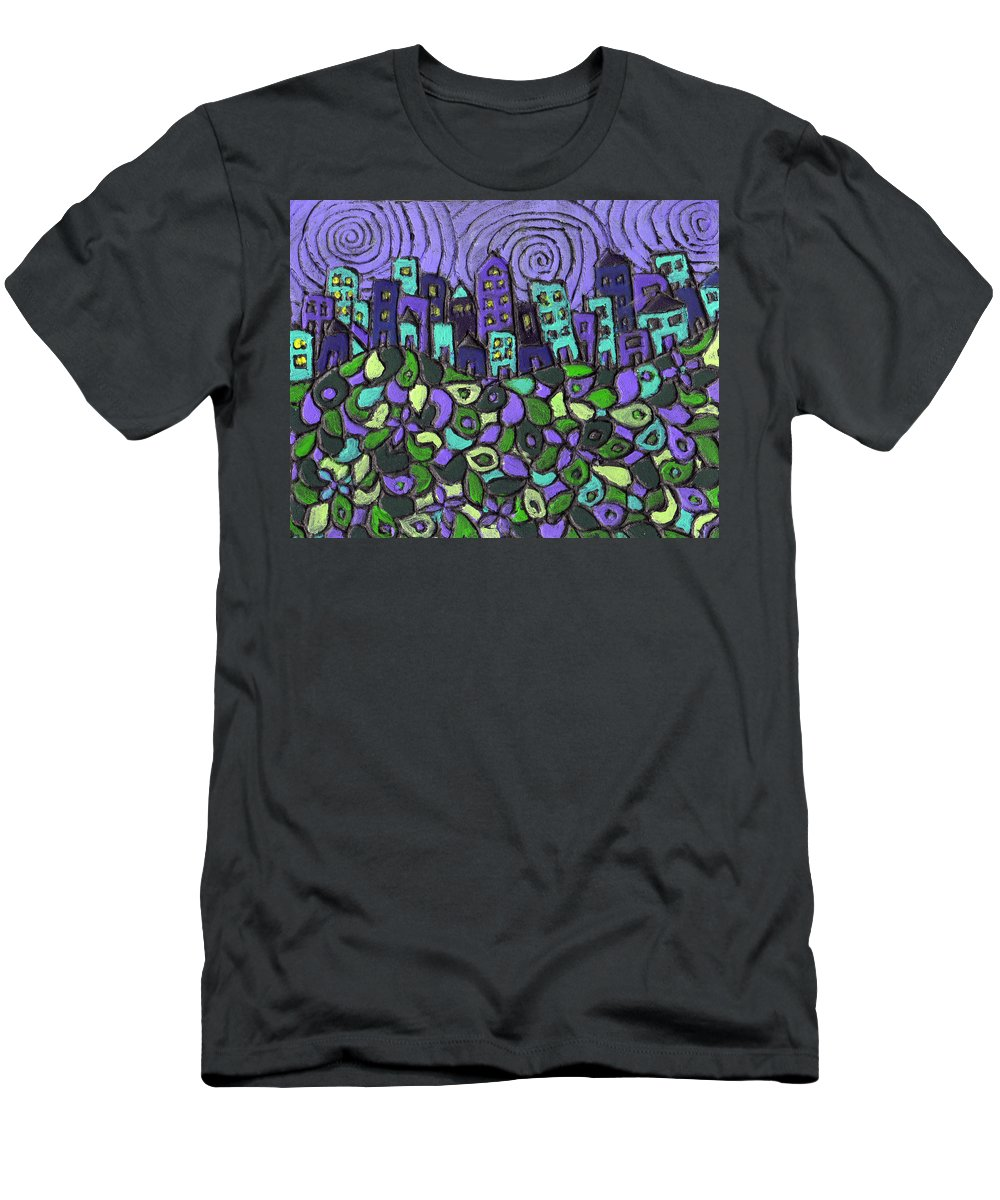 Purple Men's T-Shirt (Athletic Fit) featuring the painting City Of Passion by Wayne Potrafka