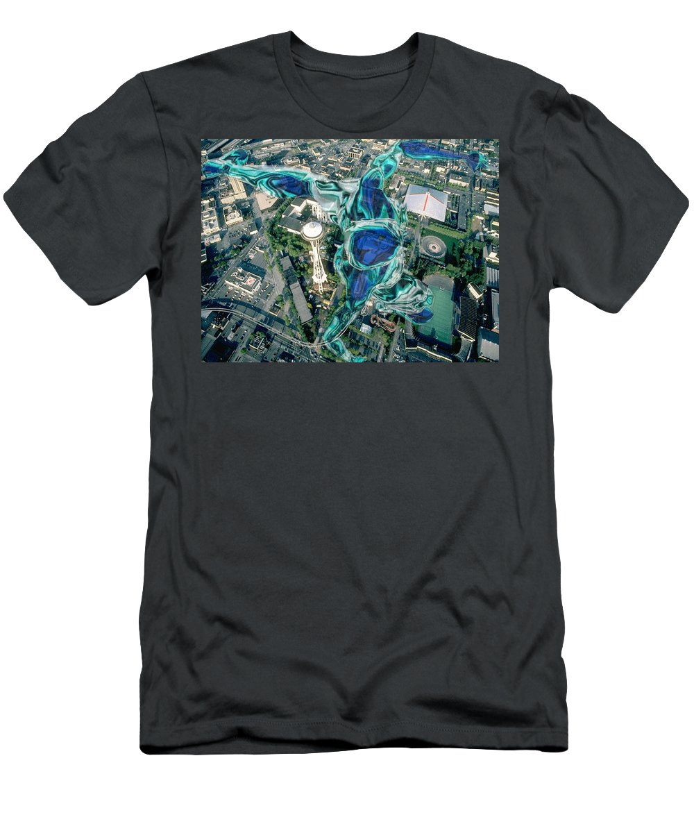 Seattle Men's T-Shirt (Athletic Fit) featuring the photograph City Strollin by Tim Allen