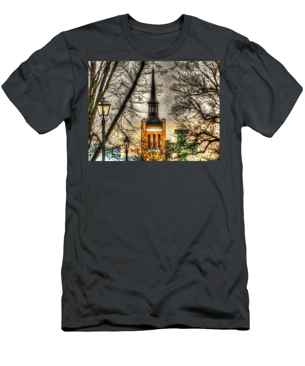 Sureal Men's T-Shirt (Athletic Fit) featuring the pyrography City Tallinn by Yury Bashkin