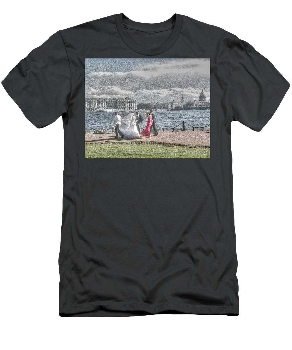 City Weddings Men's T-Shirt (Athletic Fit) featuring the mixed media city Weddings by Yury Bashkin