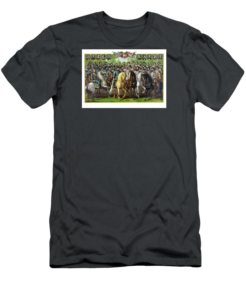 Civil War Men's T-Shirt (Athletic Fit) featuring the painting Civil War Generals And Statesman by War Is Hell Store