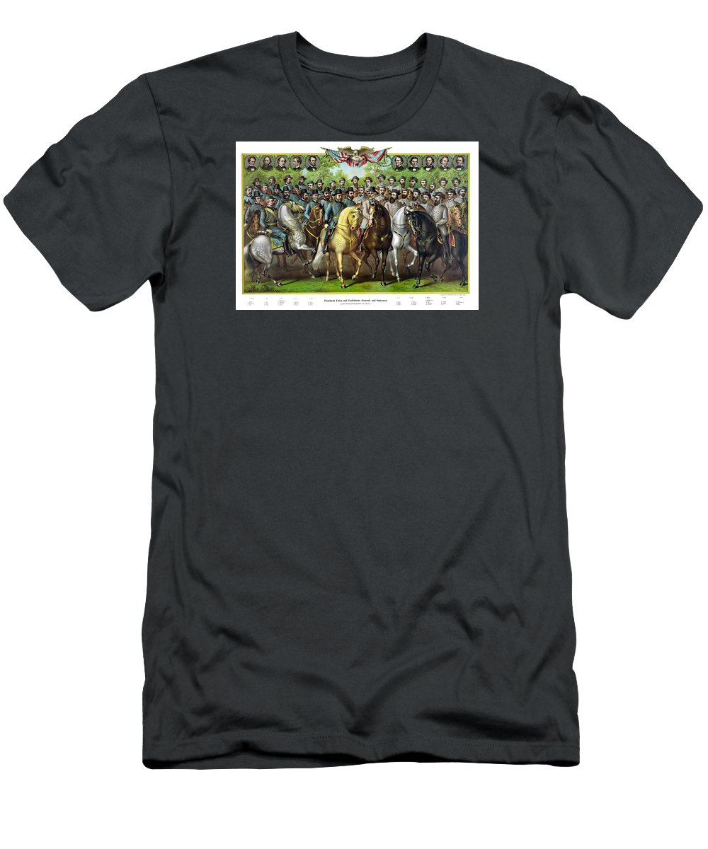 Civil War Men's T-Shirt (Athletic Fit) featuring the painting Civil War Generals And Statesman With Names by War Is Hell Store