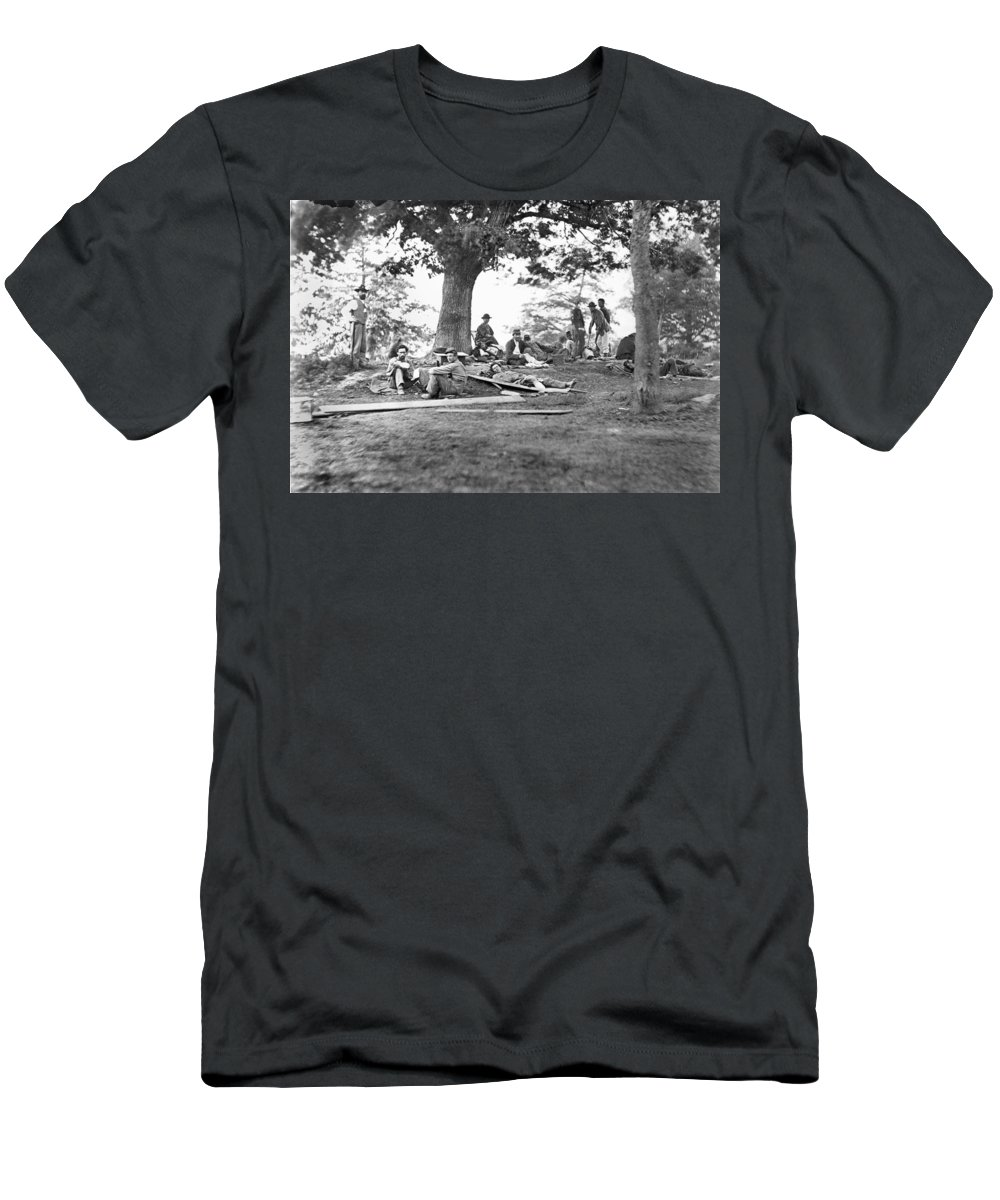 1860s Men's T-Shirt (Athletic Fit) featuring the photograph Civil War: Wounded by Granger