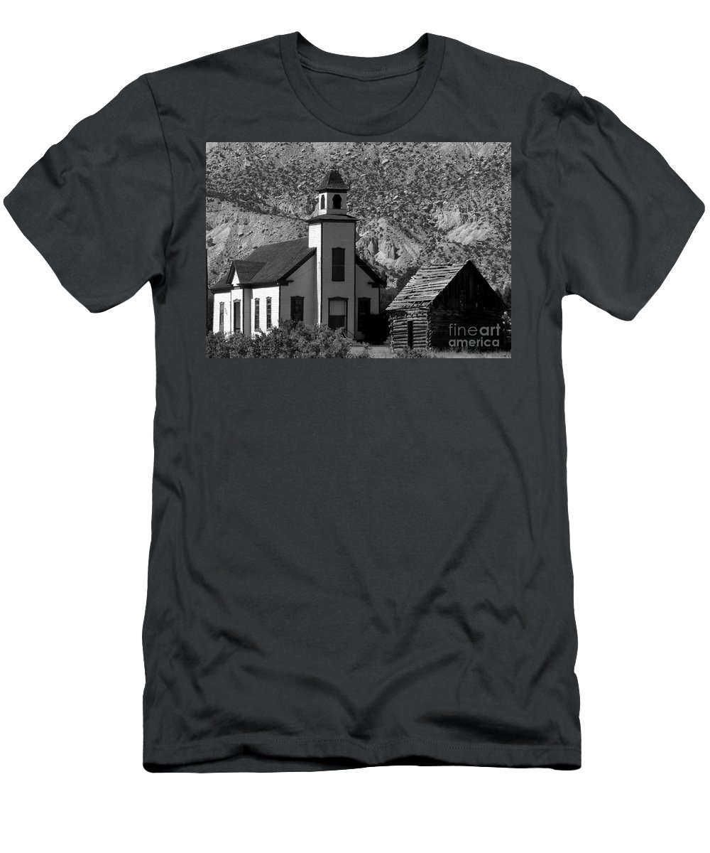 Mormon Men's T-Shirt (Athletic Fit) featuring the photograph Clapboard Church 1898 by David Lee Thompson