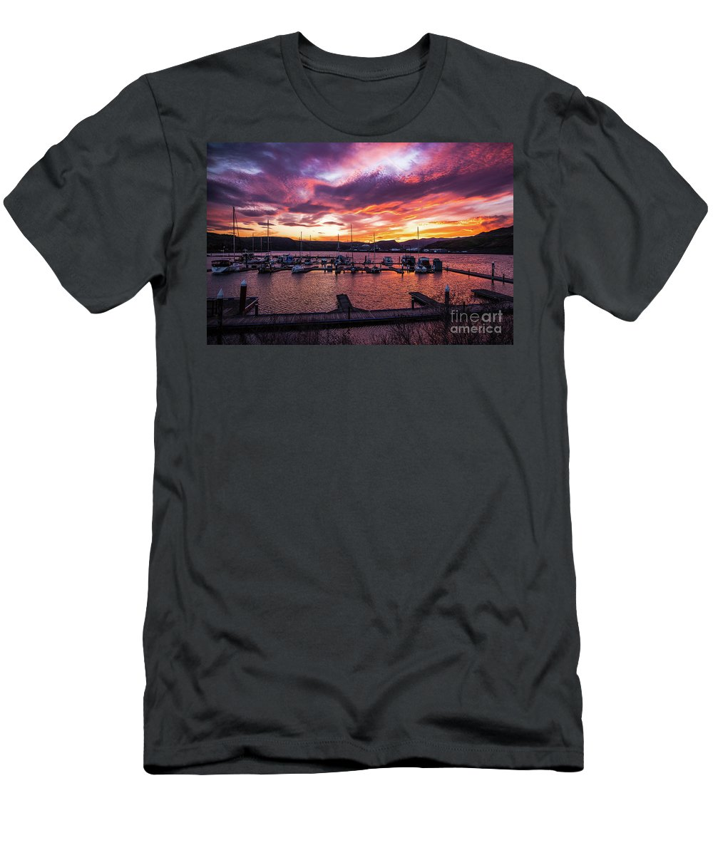 Men's T-Shirt (Athletic Fit) featuring the photograph Clarkston Marina At Sunset by Marcia Darby