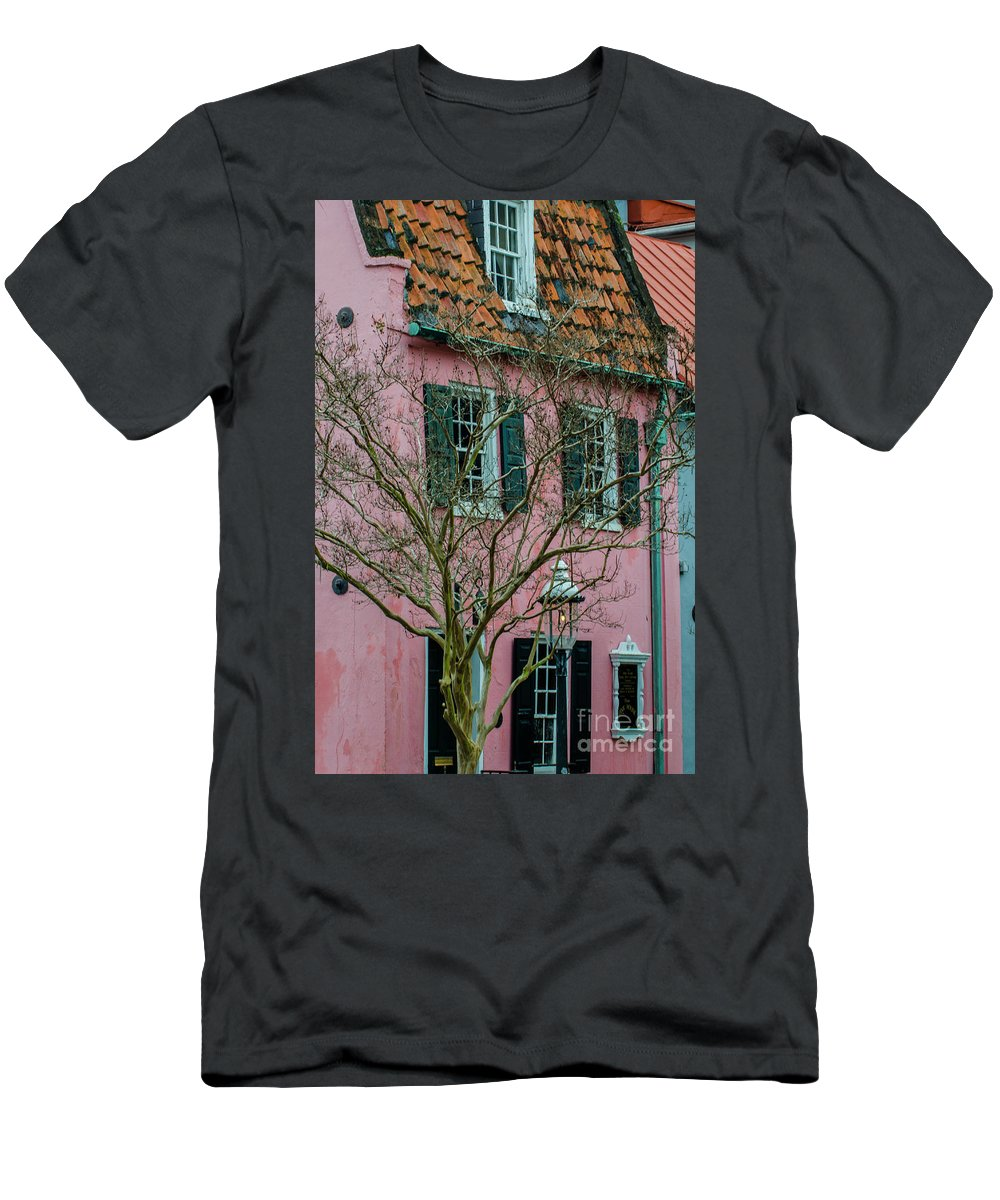 Pink House Men's T-Shirt (Athletic Fit) featuring the photograph Clay Tile Roof In Charleston by Dale Powell