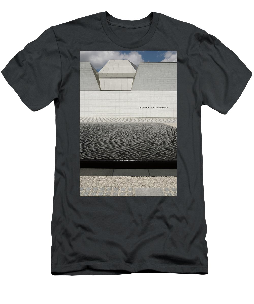 Aga Khan Men's T-Shirt (Athletic Fit) featuring the photograph Clean Abstract Lines Of The Aga Khan Museum Facade With Black Po by Reimar Gaertner