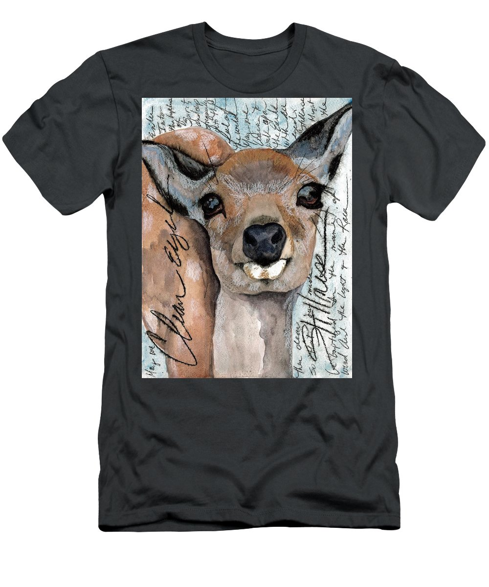 Deer Men's T-Shirt (Athletic Fit) featuring the painting Clear Eyed Stillness by Gina Rossi armfield