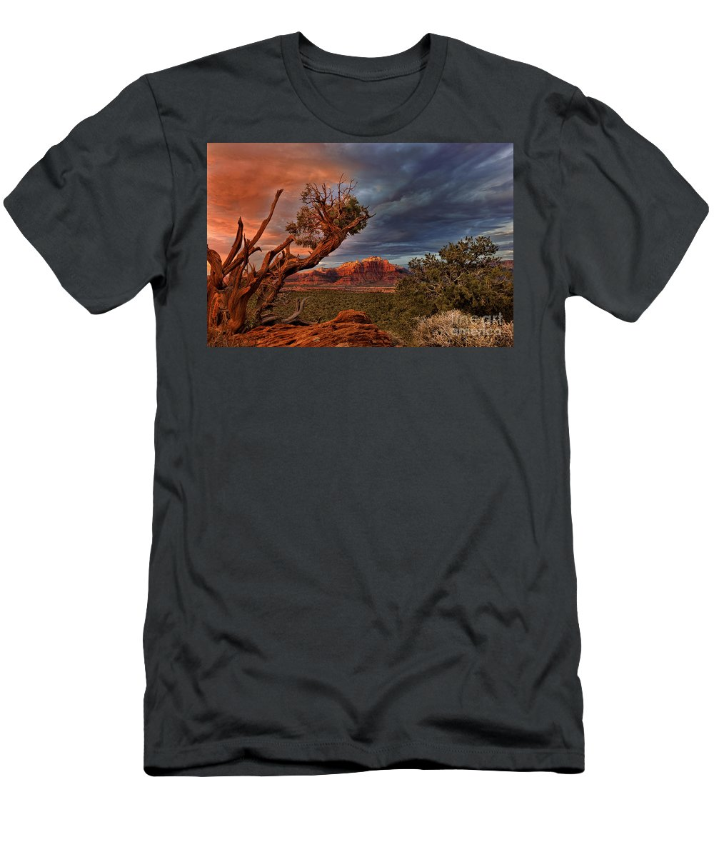 North America Men's T-Shirt (Athletic Fit) featuring the photograph Clearing Storm Over Back Of Zion Near Hurricane Utah by Dave Welling