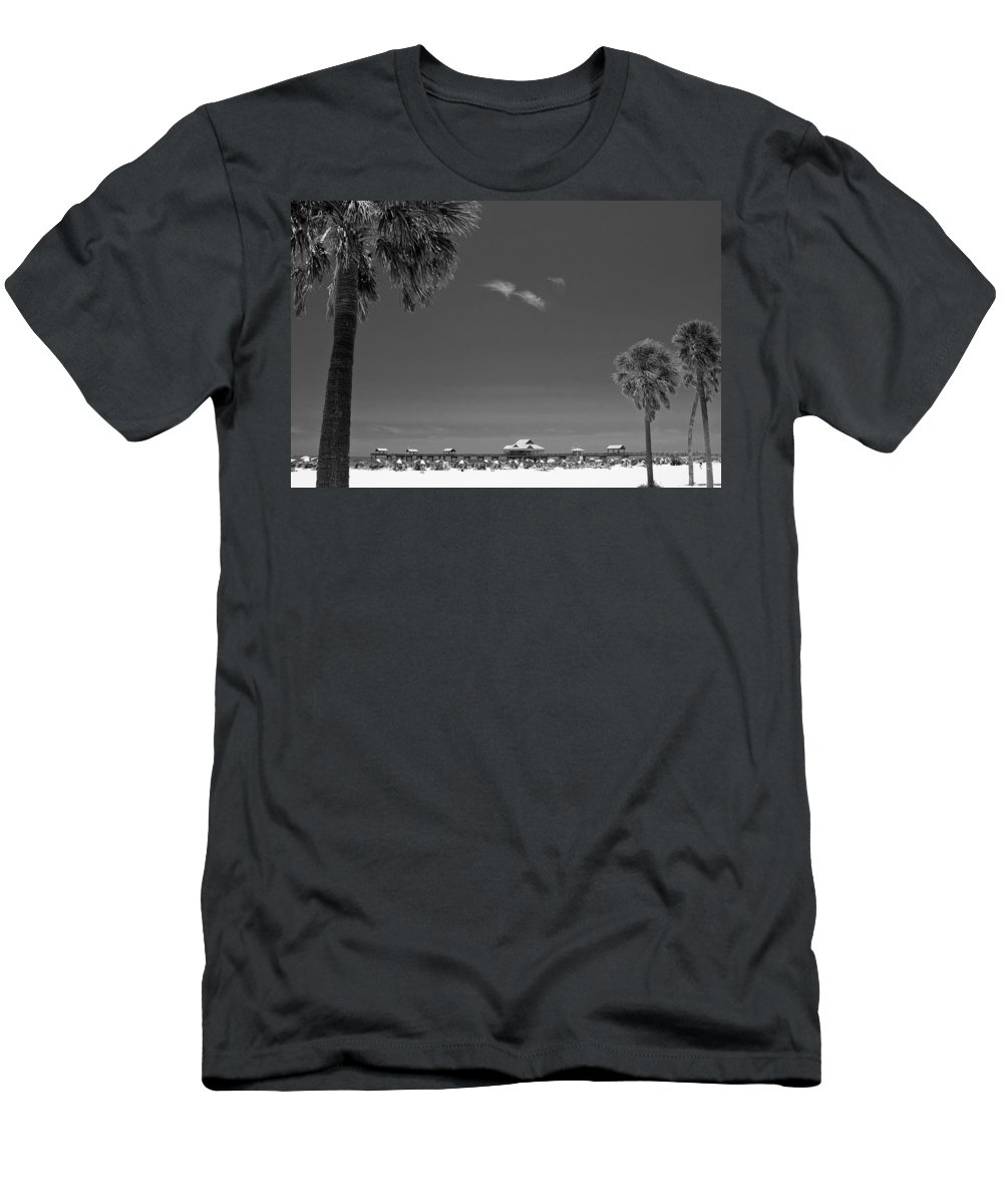 3scape Men's T-Shirt (Athletic Fit) featuring the photograph Clearwater Beach Bw by Adam Romanowicz