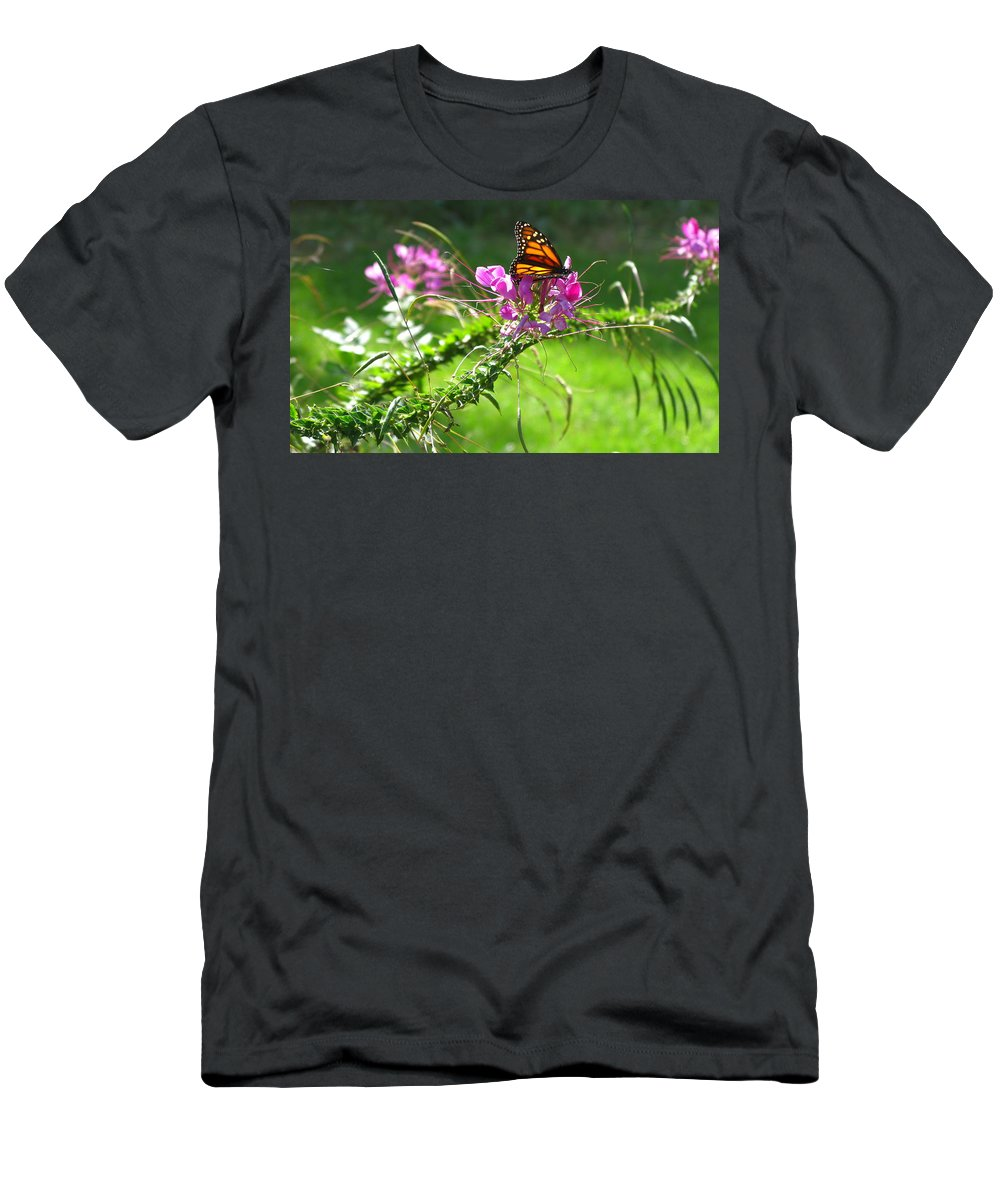 Cleomes Men's T-Shirt (Athletic Fit) featuring the photograph Cleomes And Butterfly by Brittany Horton