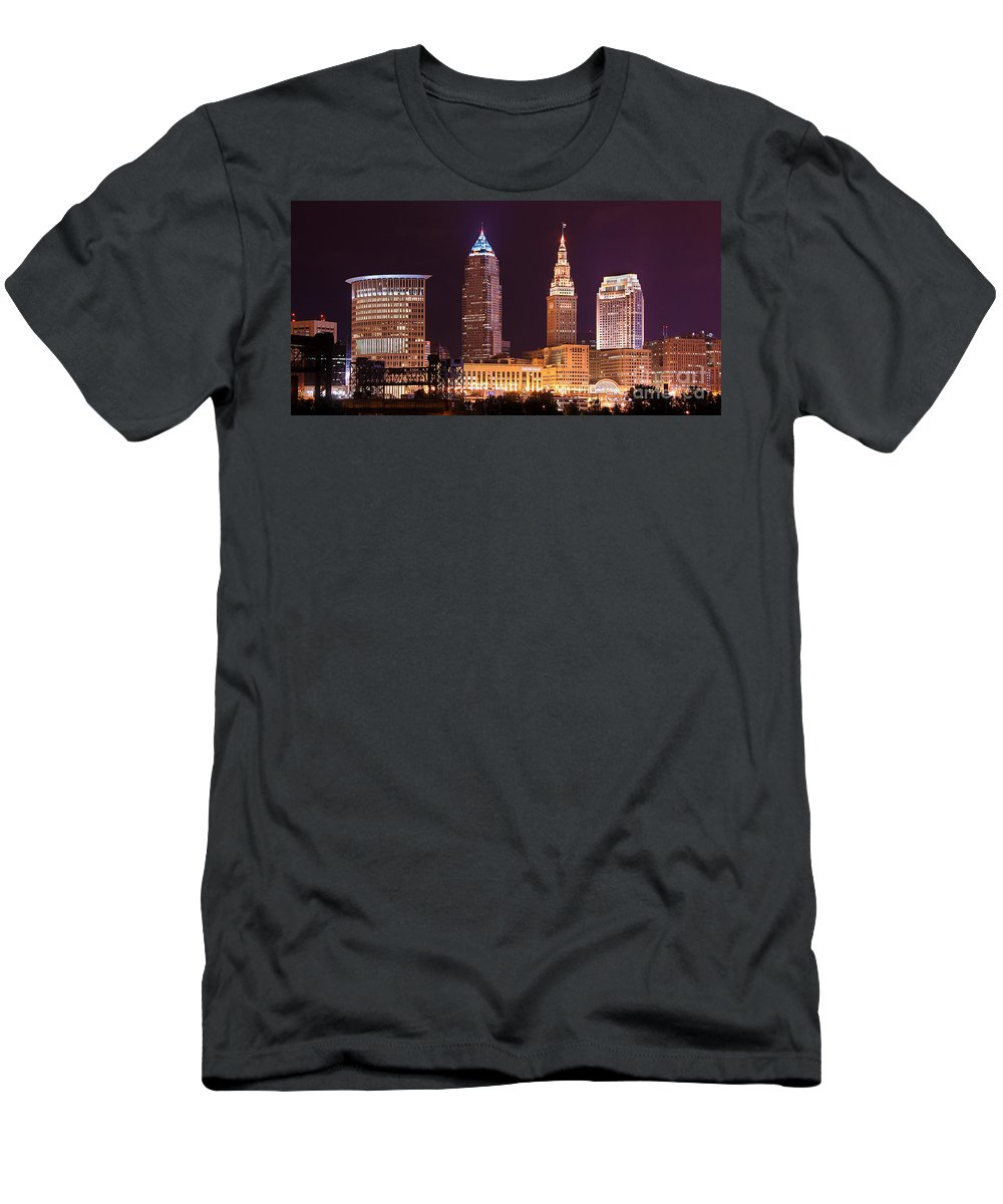 Cleveland Men's T-Shirt (Athletic Fit) featuring the photograph Cleveland Skyline Night Color - Downtown Buildings by Jon Holiday