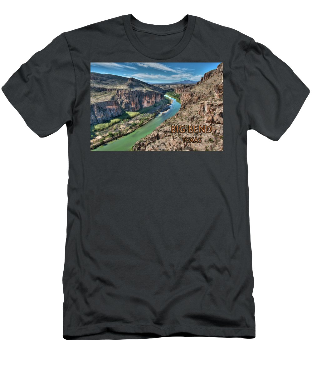 Big Bend Men's T-Shirt (Athletic Fit) featuring the painting Cliff View Of Big Bend Texas National Park And Rio Grande Text Big Bend Texas by Elaine Plesser
