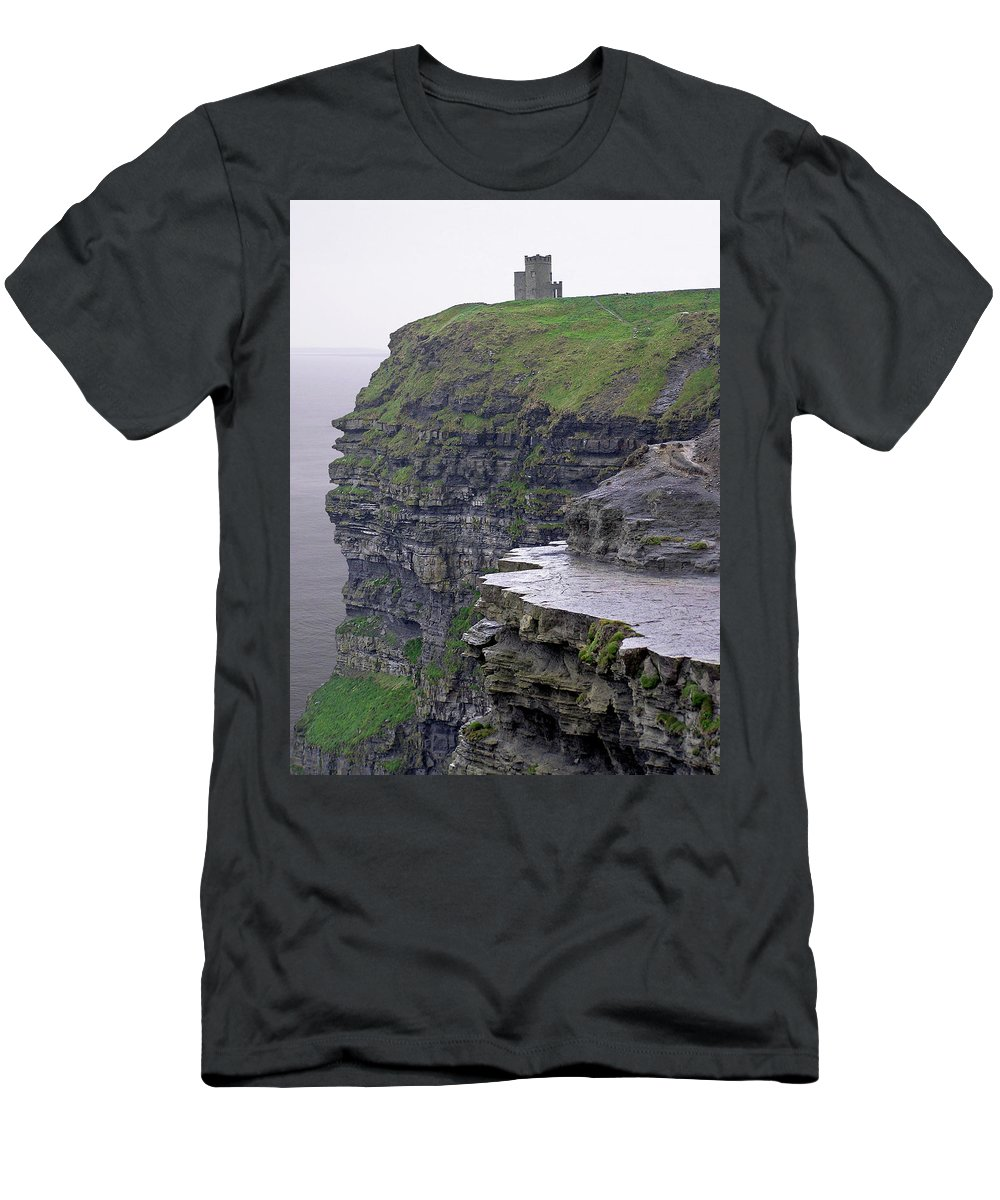 Cliff Men's T-Shirt (Athletic Fit) featuring the photograph Cliffs Of Moher Ireland by Charles Harden
