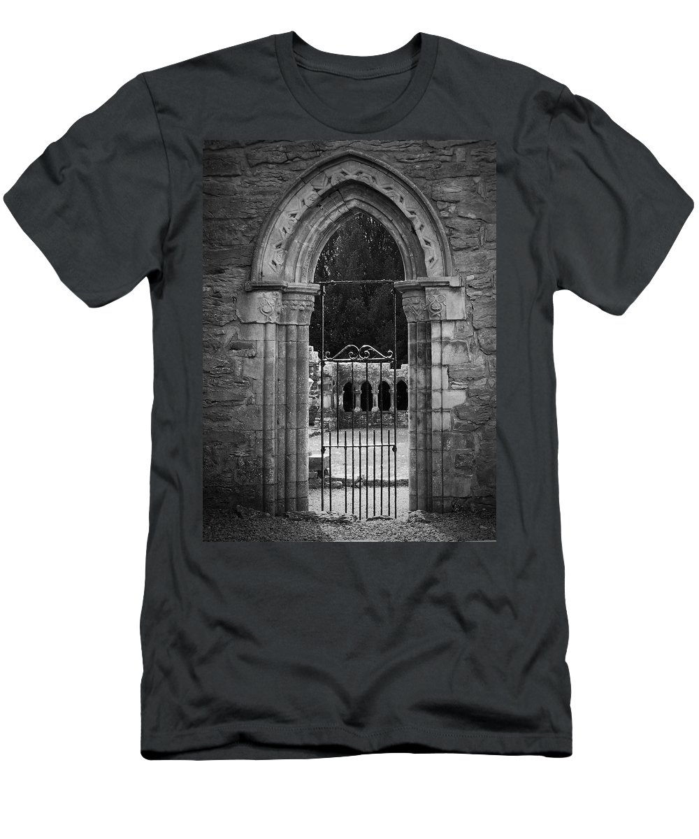 Irish Men's T-Shirt (Athletic Fit) featuring the photograph Cloister View Cong Abbey Cong Ireland by Teresa Mucha