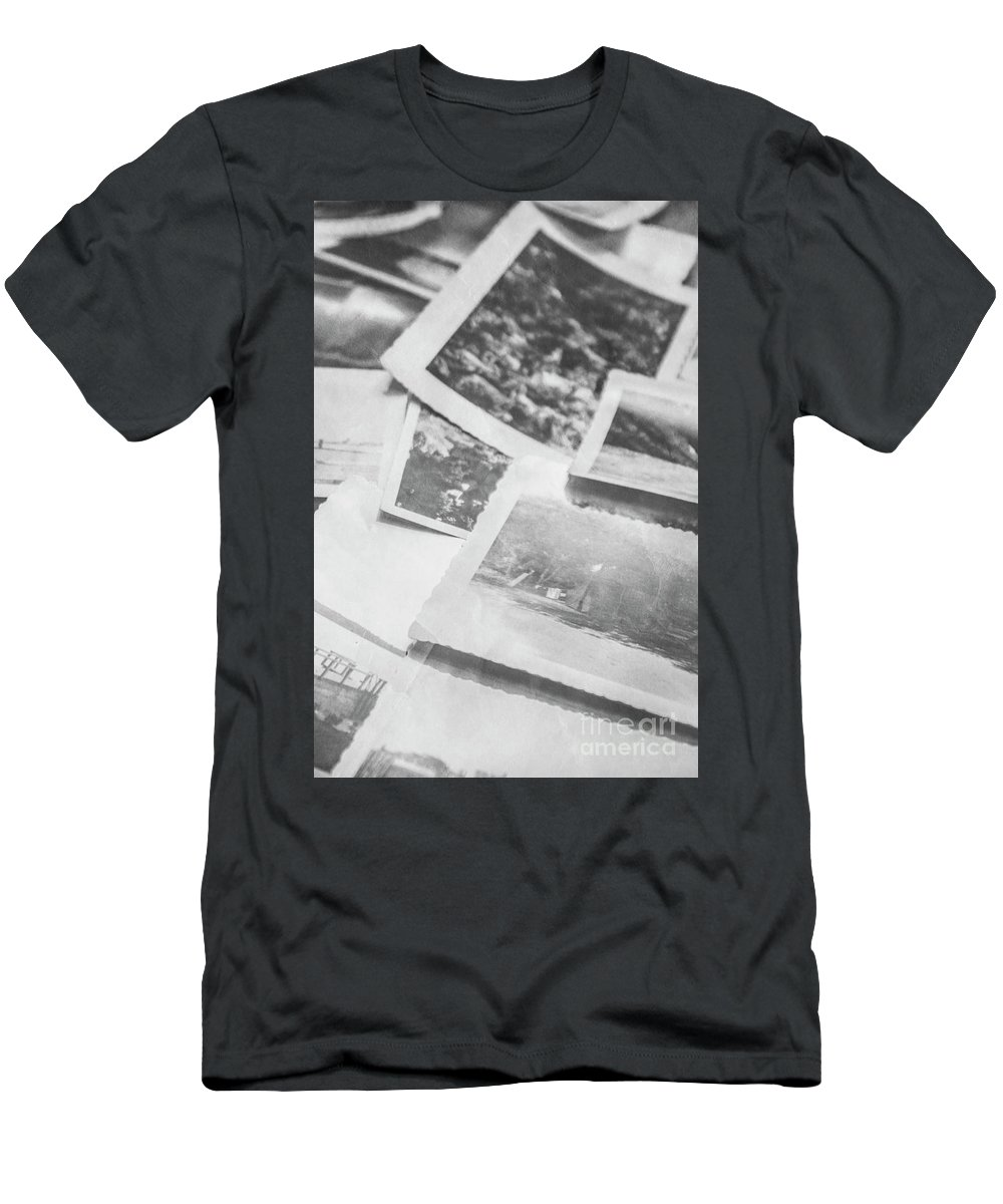 History Men's T-Shirt (Athletic Fit) featuring the photograph Close Up On Old Black And White Photographs by Jorgo Photography - Wall Art Gallery