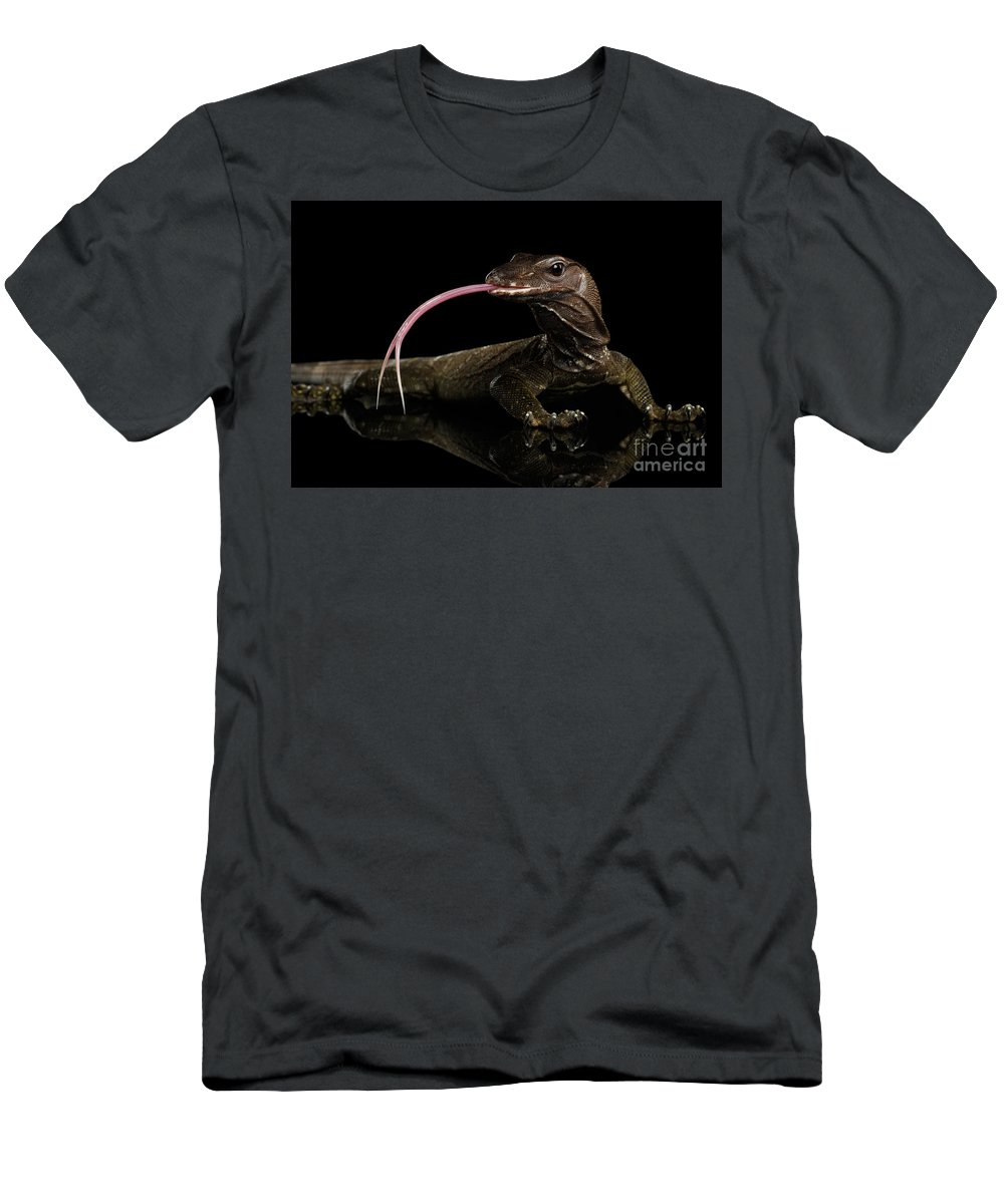 Close-up Varanus Rudicollis Isolated On Black Background T-Shirt for Sale  by Sergey Taran 8c2a75246