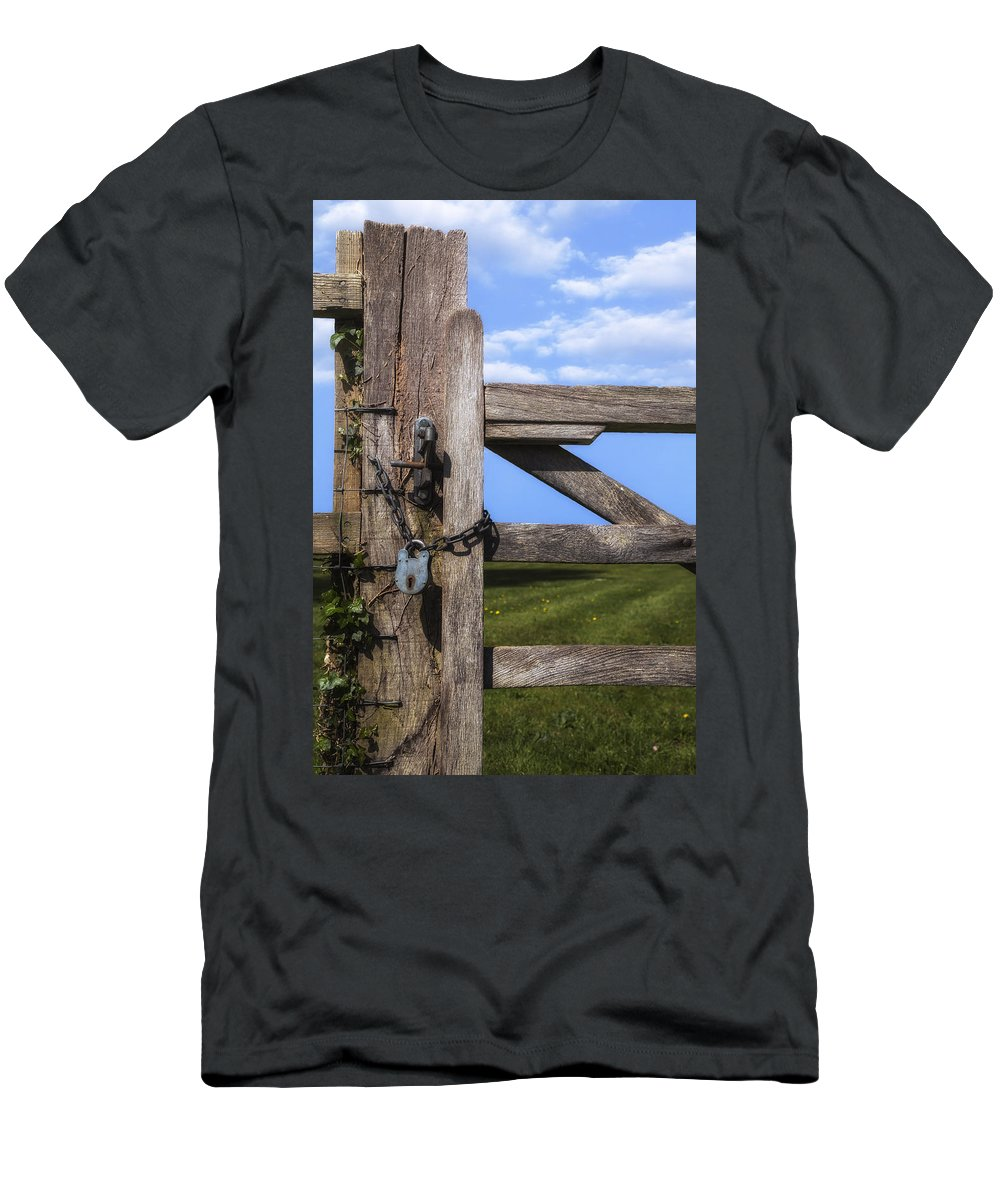 Gate Men's T-Shirt (Athletic Fit) featuring the photograph Closed Paddock by Joana Kruse