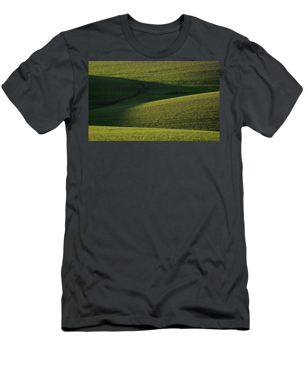 Rolling Men's T-Shirt (Athletic Fit) featuring the digital art Cloud Shadows On New Growing Crop by Mark Duffy