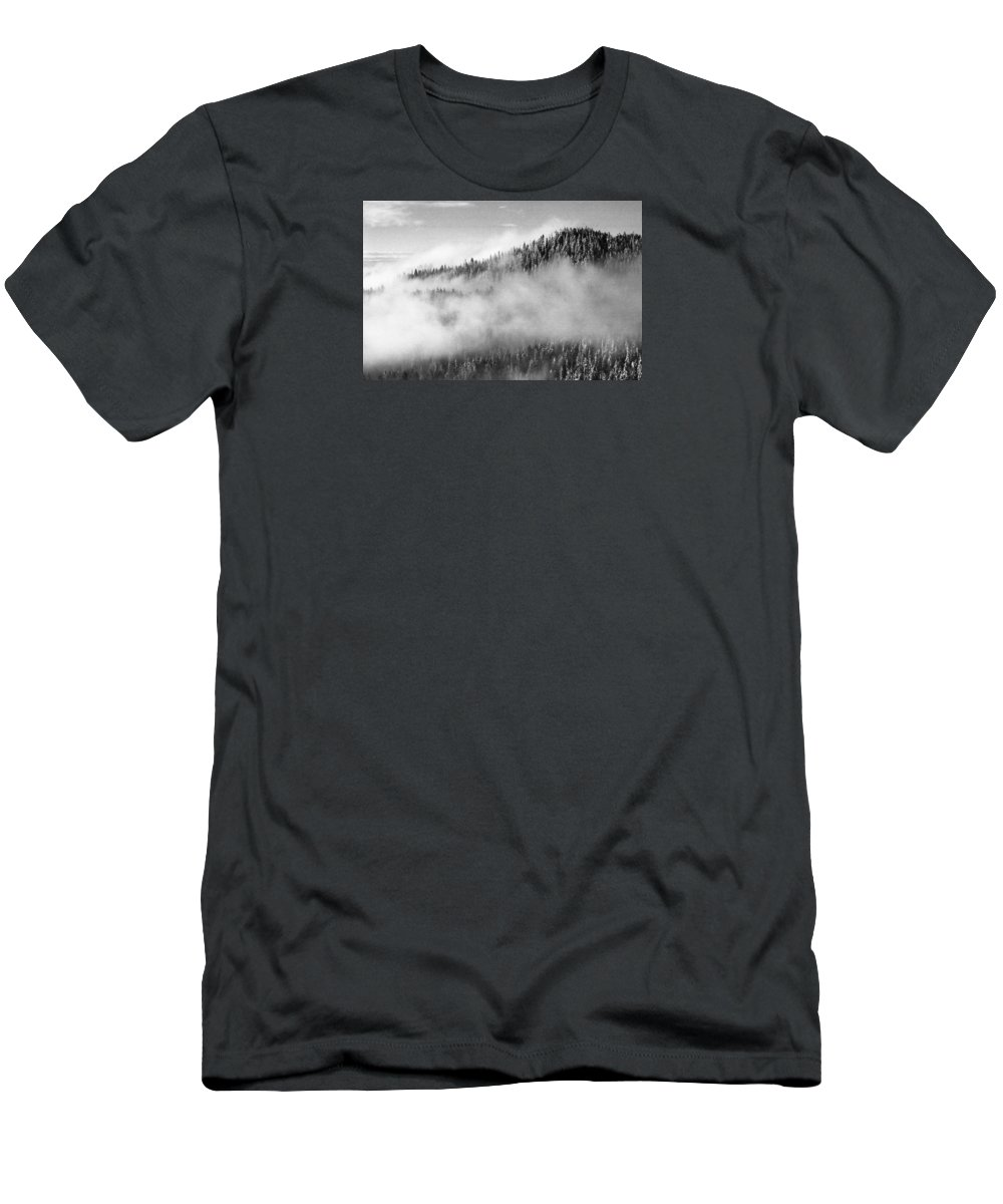 Black And White Men's T-Shirt (Athletic Fit) featuring the photograph Clouds At The Ridge by Lyle Crump