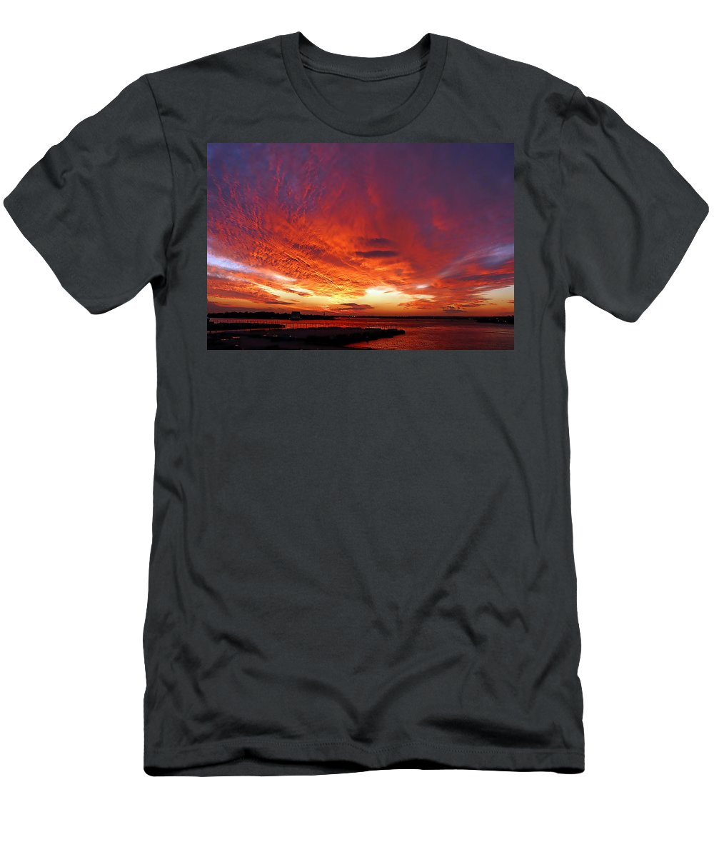 Clouds Men's T-Shirt (Athletic Fit) featuring the photograph Clouds On Fire by Kendall Eutemey