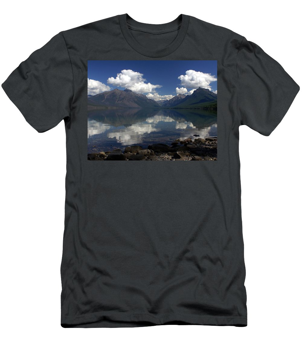 Reflections Men's T-Shirt (Athletic Fit) featuring the photograph Clouds On The Water by Marty Koch
