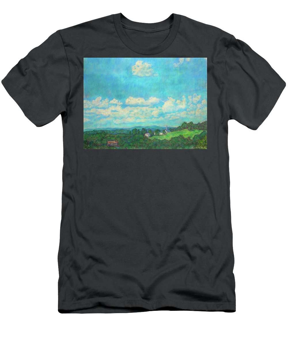 Landscape Men's T-Shirt (Athletic Fit) featuring the painting Clouds Over Fairlawn by Kendall Kessler
