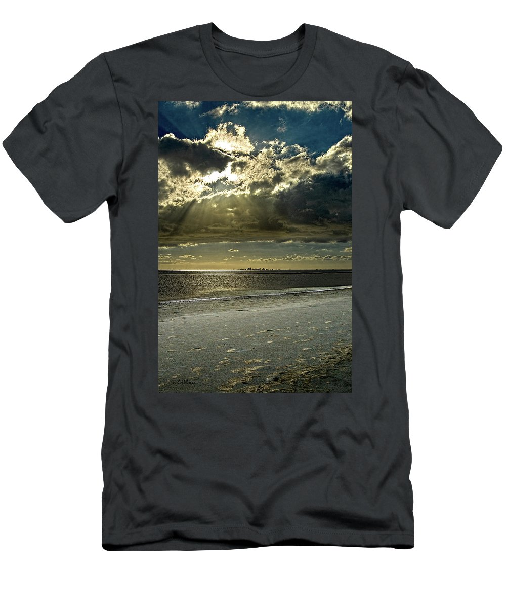 Beach Men's T-Shirt (Athletic Fit) featuring the photograph Clouds Over The Bay by Christopher Holmes