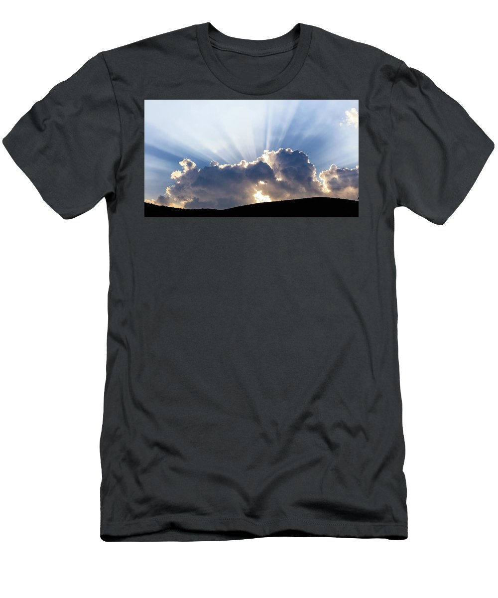 Mountains Men's T-Shirt (Athletic Fit) featuring the photograph Cloudy Sky Over Mountains Silhouette At Sunset by George Tsartsianidis