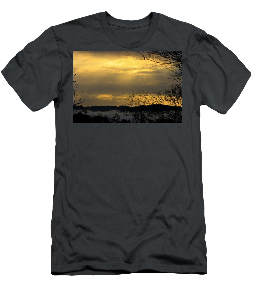 Sunrise Men's T-Shirt (Athletic Fit) featuring the photograph Cloudy Sunrise 3 by Teresa Mucha