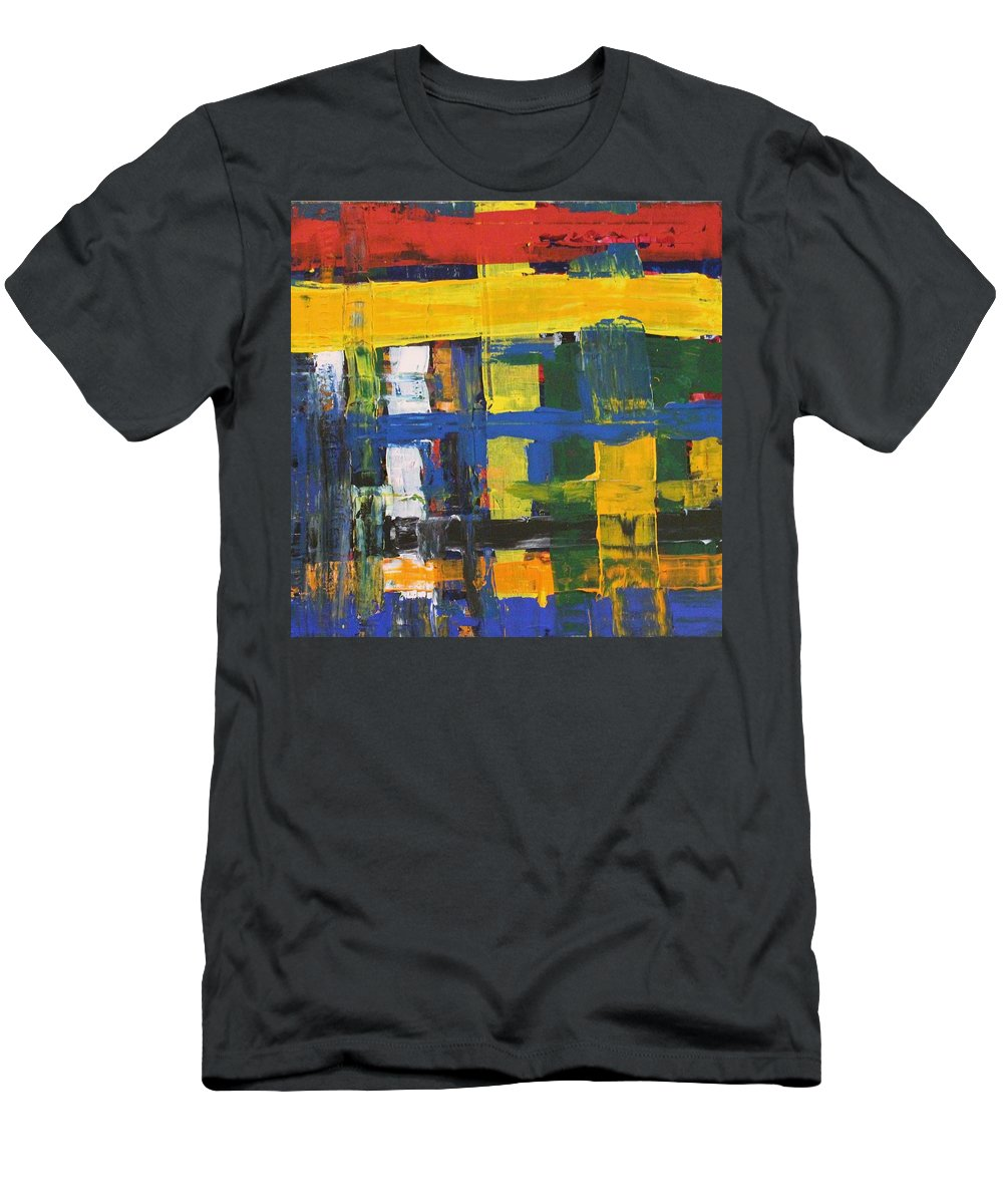 Red T-Shirt featuring the painting Club House by Pam Roth O'Mara