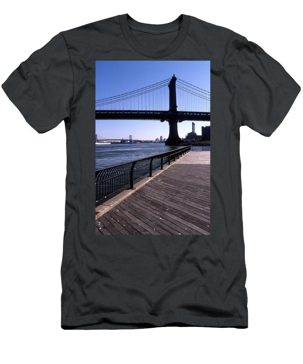 Landscape Manhattan Bridge New York City Men's T-Shirt (Athletic Fit) featuring the photograph Cnrg0402 by Henry Butz