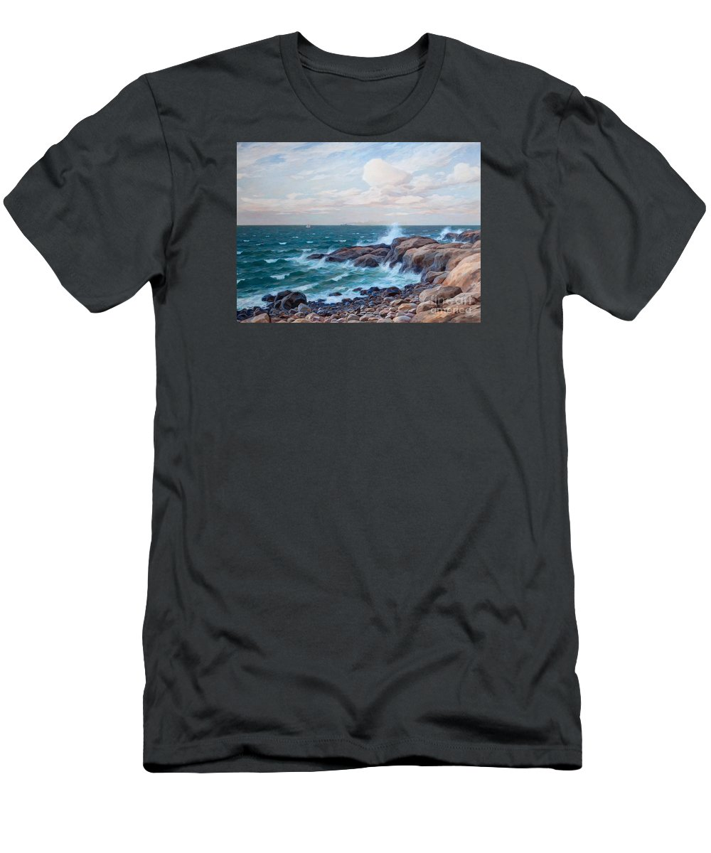 Thure Sundell Men's T-Shirt (Athletic Fit) featuring the painting Coastal Landscape by MotionAge Designs