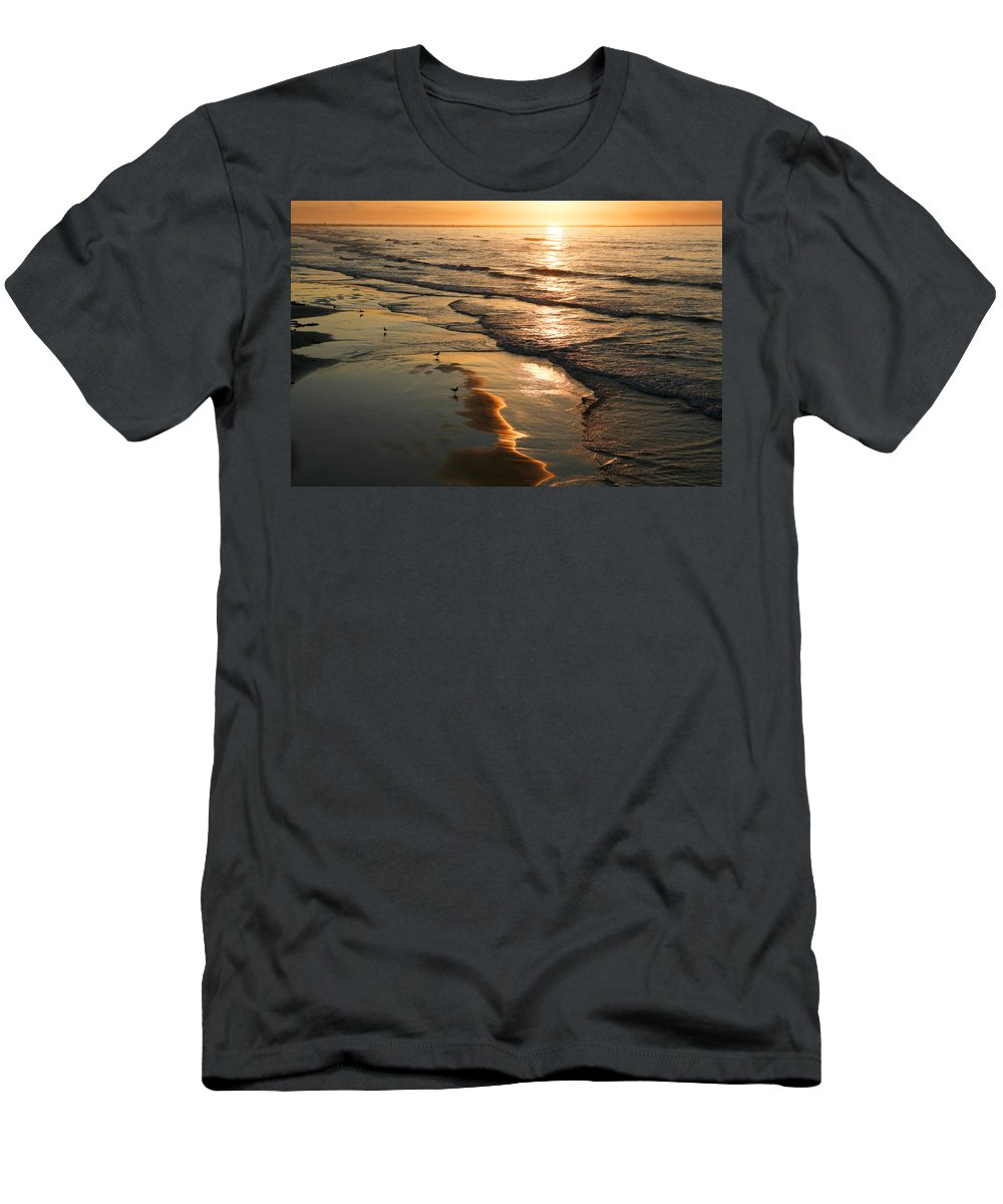 Beach Men's T-Shirt (Athletic Fit) featuring the photograph Coastal Sunrise by Marilyn Hunt