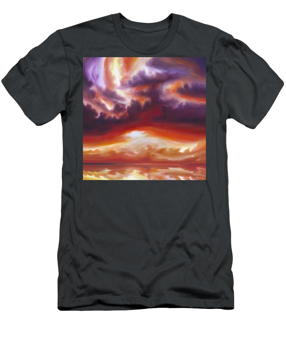 Skyscape Men's T-Shirt (Athletic Fit) featuring the painting Coastline by James Christopher Hill