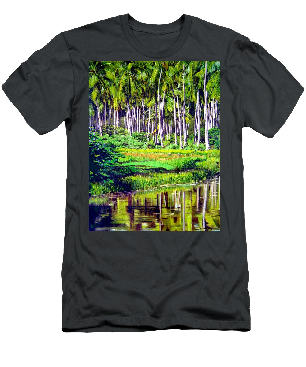 Coconuts Water River Green Art Tropical T-Shirt featuring the painting Coconuts Trees by Jose Manuel Abraham