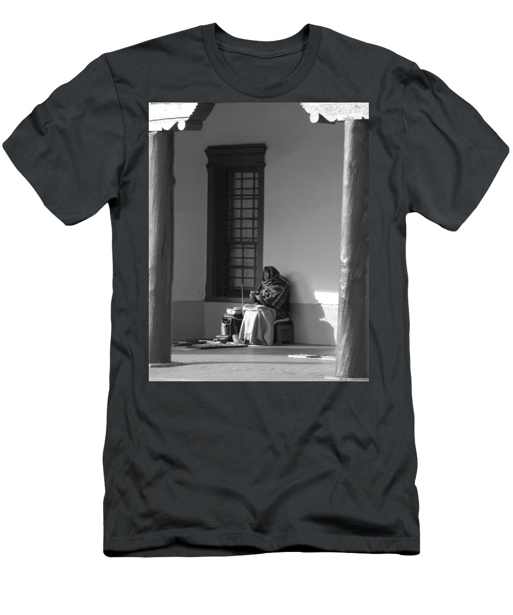 Southwestern Men's T-Shirt (Athletic Fit) featuring the photograph Cold Native American Woman by Rob Hans