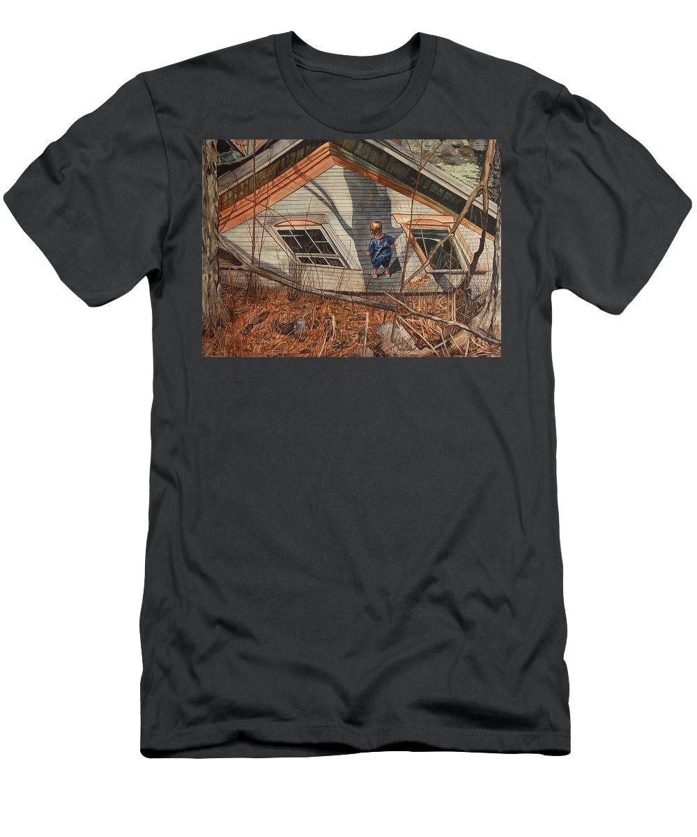 Children Men's T-Shirt (Athletic Fit) featuring the painting Collapsed by Valerie Patterson