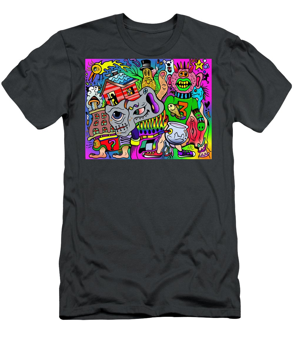 Weird Strange Stranger Things Odd Unique Color Tattoo Graphics Cartoon Acid Trip Led Trip Subconscious Dreamworld Men's T-Shirt (Athletic Fit) featuring the mixed media Color Bash Acid Tweeter by Lon Bennett