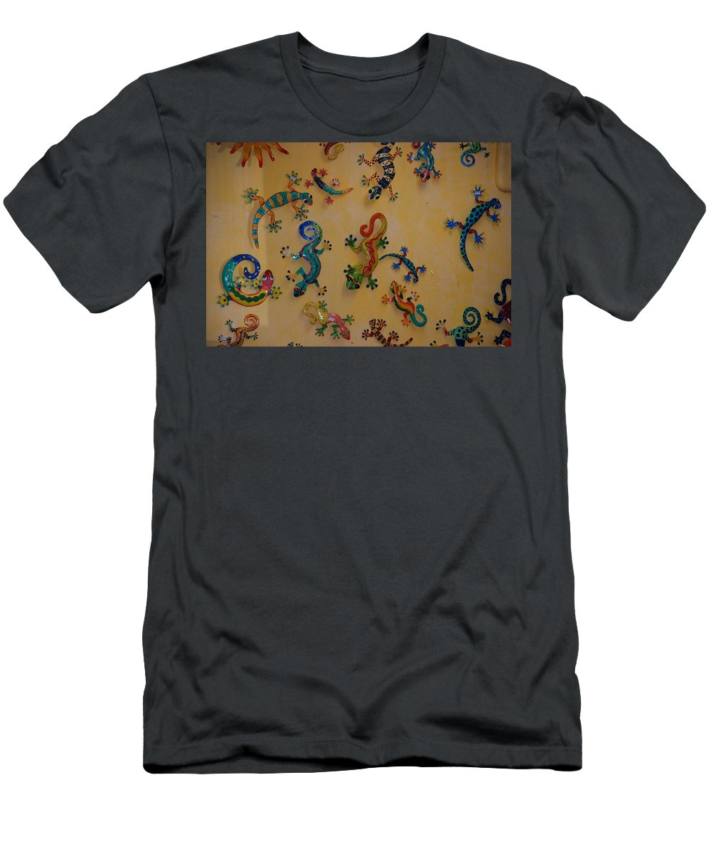 Pop Art Men's T-Shirt (Athletic Fit) featuring the photograph Color Lizards On The Wall by Rob Hans