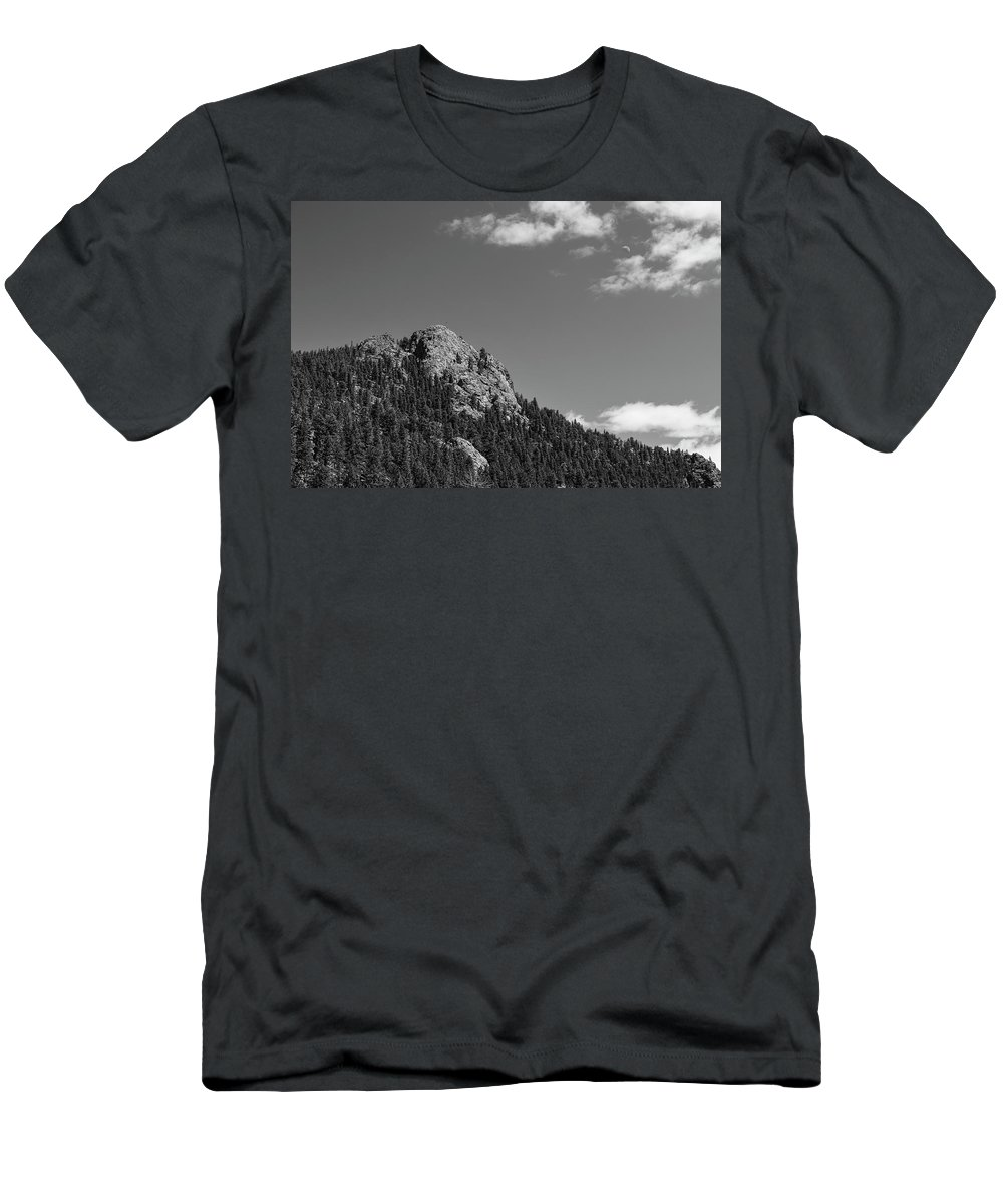 Black White Men's T-Shirt (Athletic Fit) featuring the photograph Colorado Buffalo Rock With Waxing Crescent Moon In Bw by James BO Insogna
