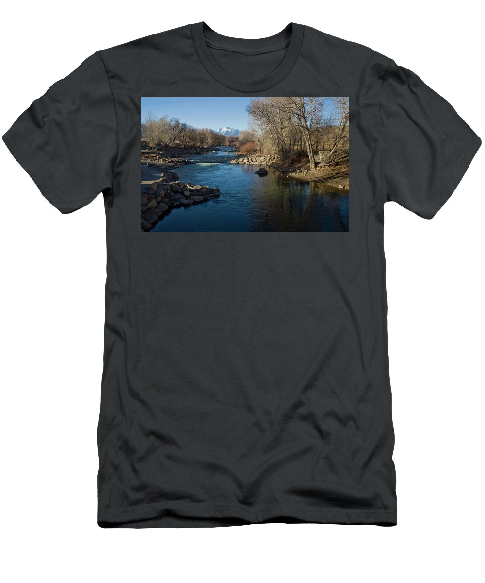 Colorado Mountain Stream Landscape Men's T-Shirt (Athletic Fit) featuring the photograph Colorado Mountain Stream by Bob Sanford
