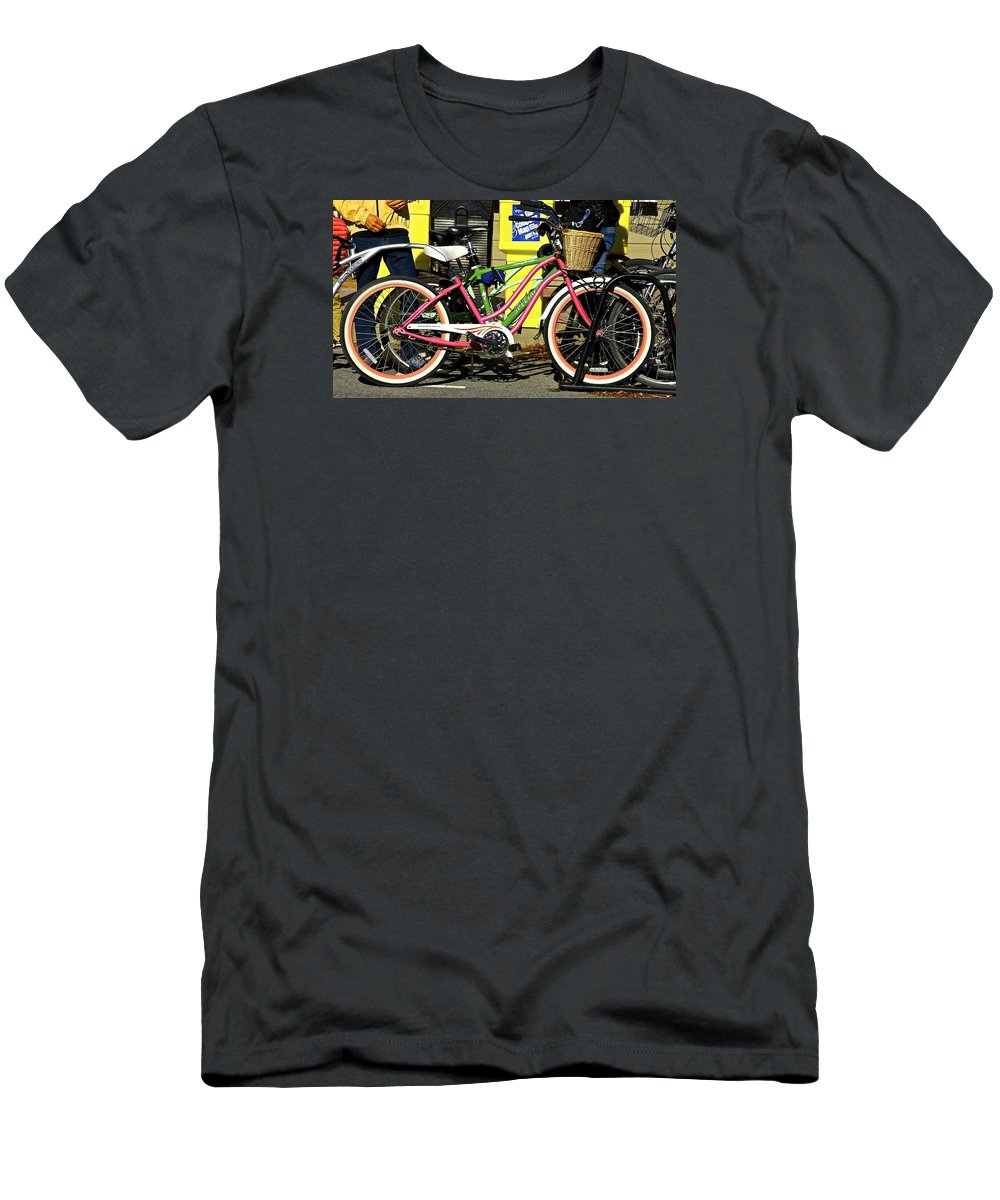 Colorful Bike At The Beach. Mark Holden Men's T-Shirt (Athletic Fit) featuring the photograph Colorful Bike by Mark Holden