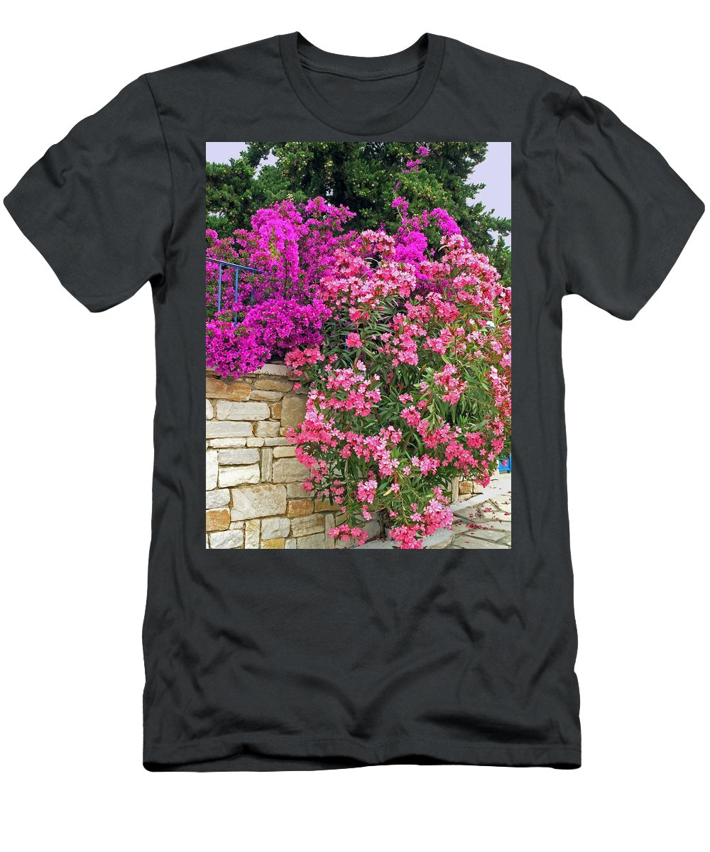 Flowering Shrubs Men's T-Shirt (Athletic Fit) featuring the photograph Colorful Flowering Shrubs by Sally Weigand