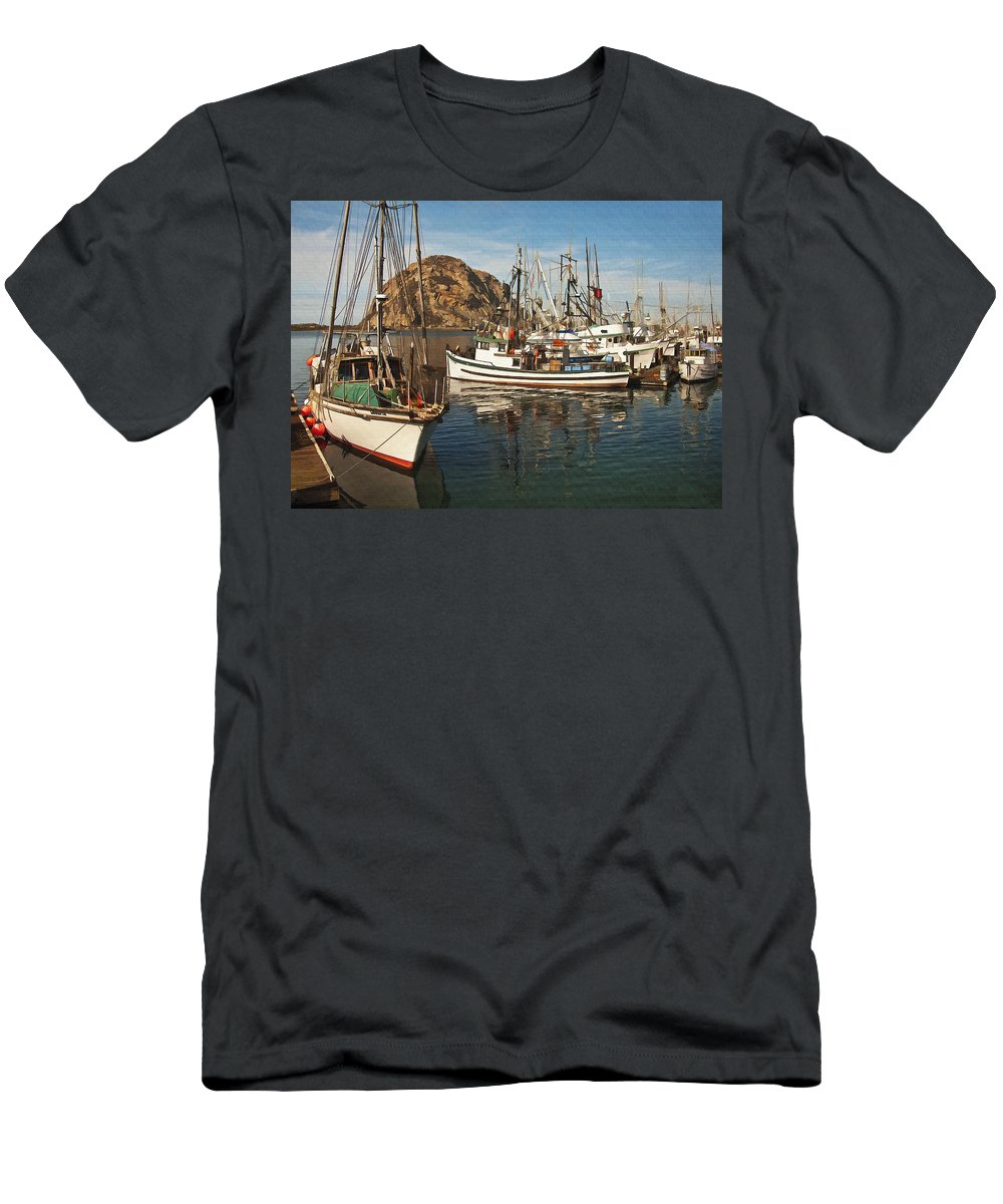 Morro Bay Men's T-Shirt (Athletic Fit) featuring the digital art Colorful Harbor by Sharon Foster