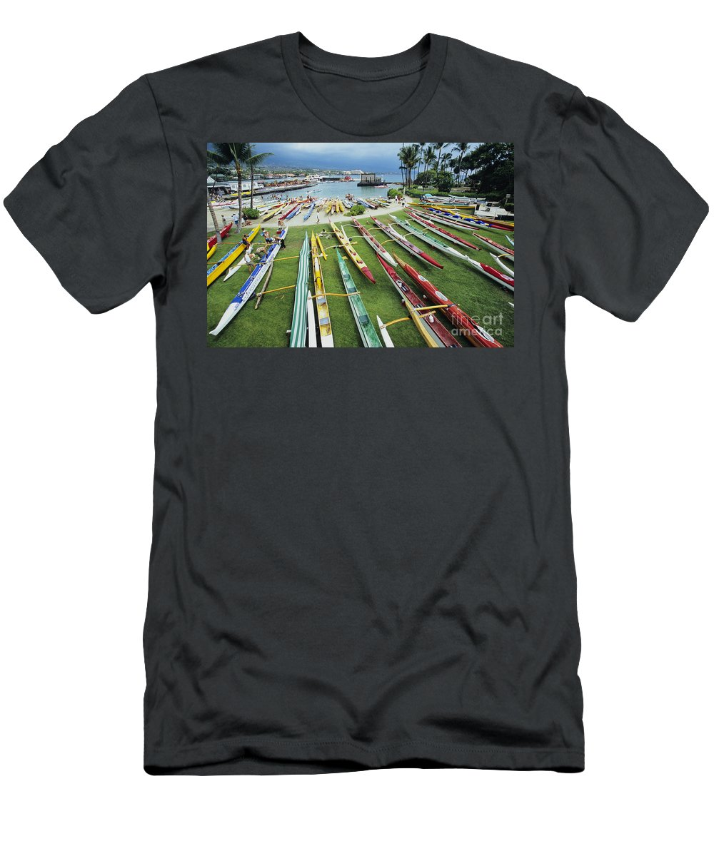 Aku Men's T-Shirt (Athletic Fit) featuring the photograph Colorful Outrigger Canoes by Joss - Printscapes