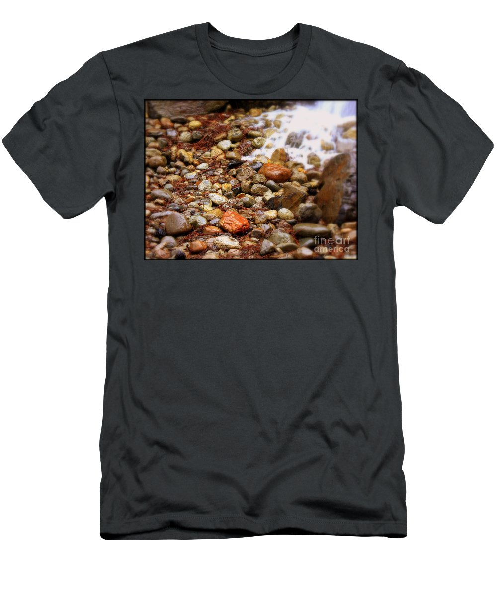 Nature Men's T-Shirt (Athletic Fit) featuring the photograph Colorful Rocks With Waterfall by Carol Groenen