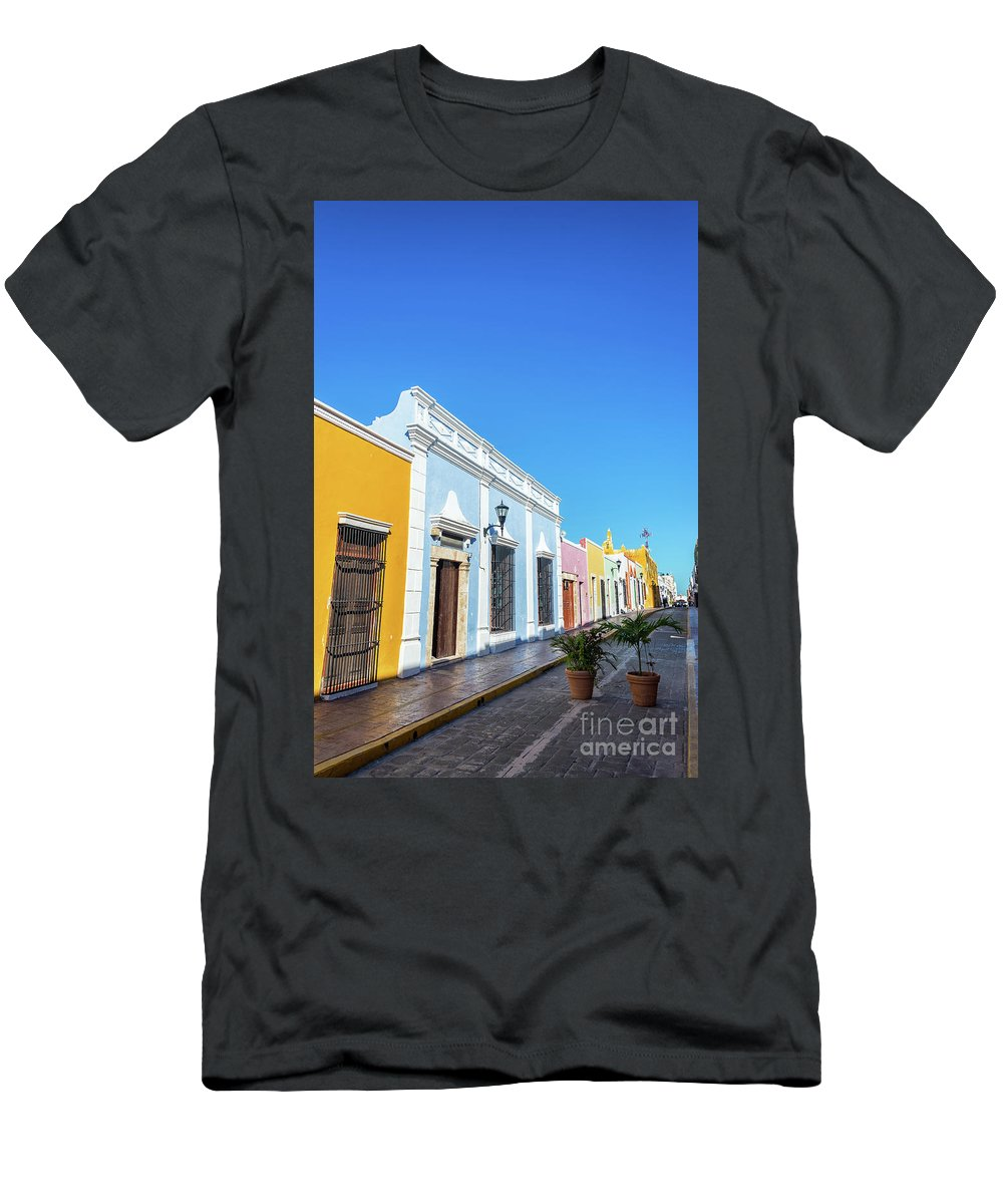Campeche Men's T-Shirt (Athletic Fit) featuring the photograph Colorful Street In Campeche, Mexico by Jess Kraft