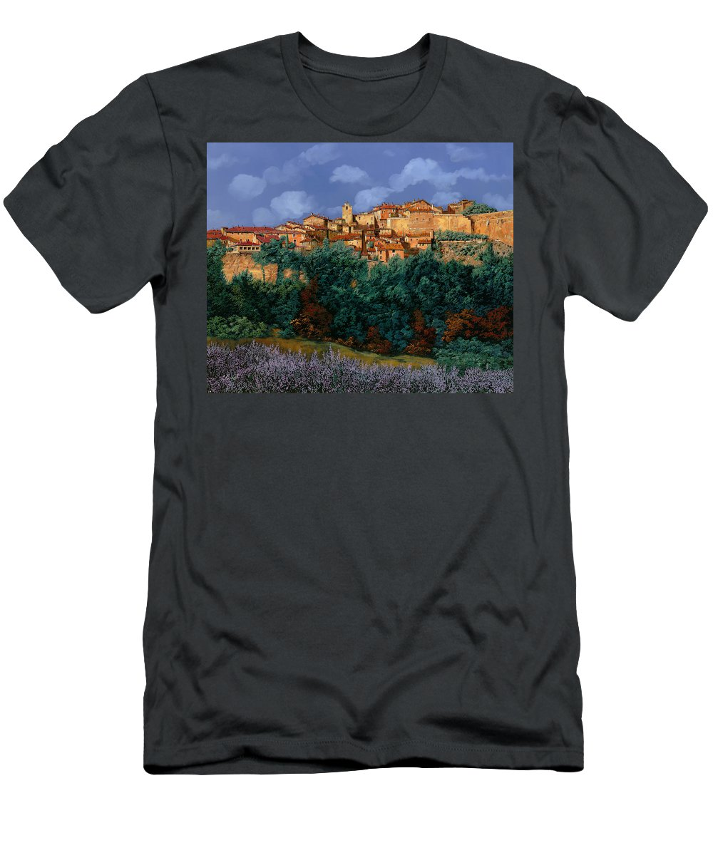 Provence Men's T-Shirt (Athletic Fit) featuring the painting colori di Provenza by Guido Borelli